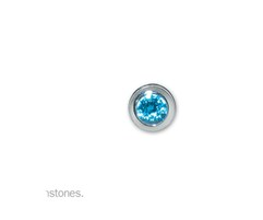 D5015-End Cap-December-Simulated Blue Topaz-Memorial Jewelry