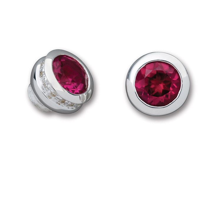 Simulated Ruby Clubic Zirconium Pavé End Cap