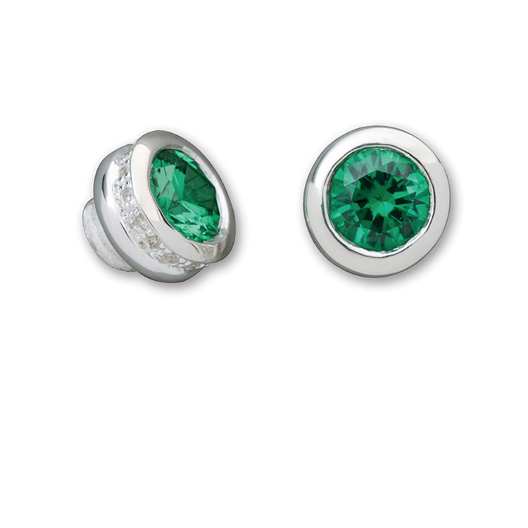 Simulated Emerald CZ Pavé End Cap