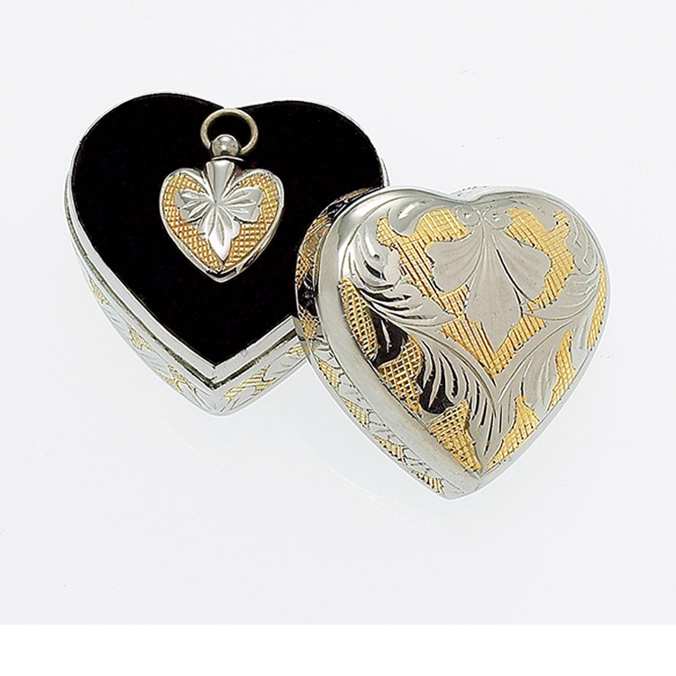 Sculpted Brass Heart 2-Tone with Sculpted Case