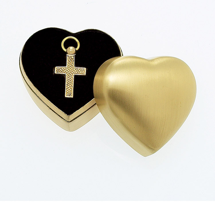 Sculpted Brass Cross with Plain Case