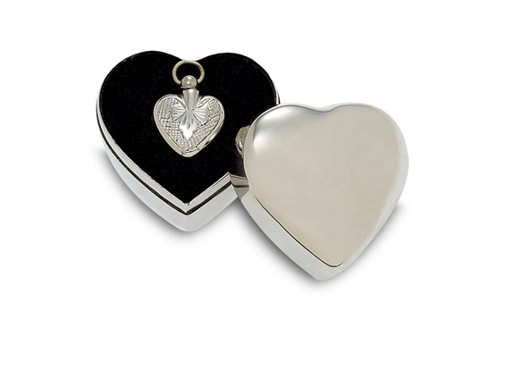 Sculpted Silver Finish Heart with Plain Case