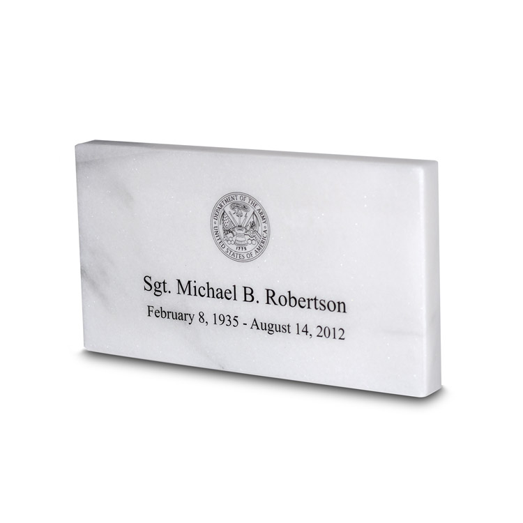 White Marble Temporary Grave Marker