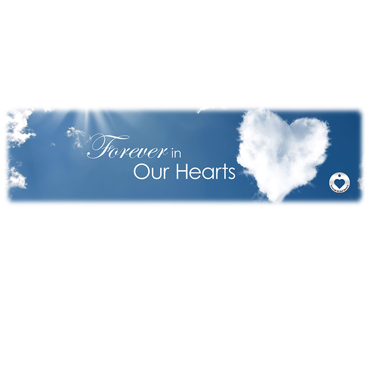 Forever in our Hearts-Cloud Image for burial vaults