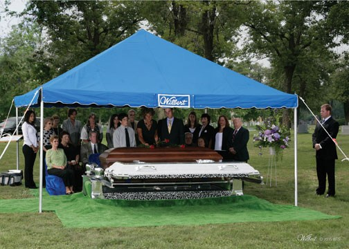 Traditional Burial Caucasian Family Graveside And